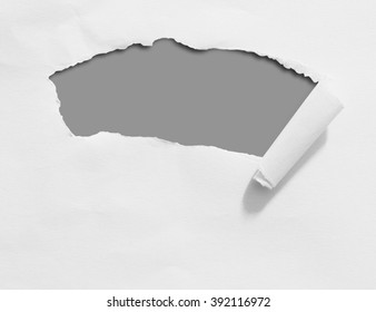 Ripped paper on grey background with clipping path.