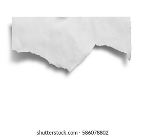 Ripped paper, space for copy on white background with clipping path.