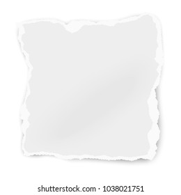 Ripped paper tear isolated on white background. Template paper design.