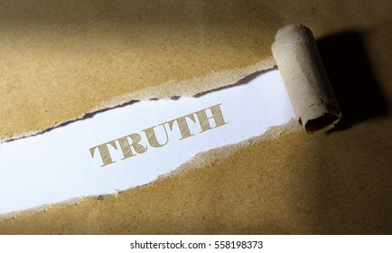 ripped paper with word TRUTH
