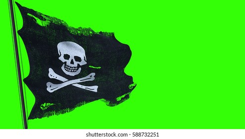 ripped tear grunge old fabric texture of the pirate skull flag waving in wind, calico jack pirate symbol at chroma key green screen background, dark mystery style, hacker and robber concept