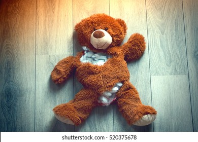 Ripped up teddy bear