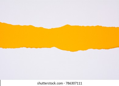 ripped of white paper on yellow background