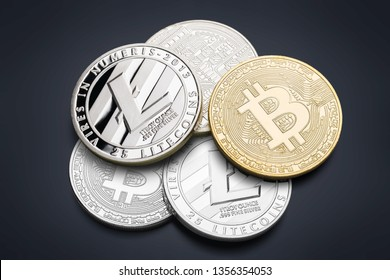 Ripple coin, ethereum, litecoin and bitcoin cryptocurrency on glass table - Image          - Image