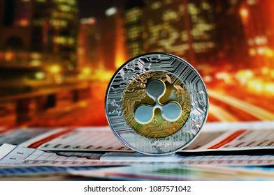 Ripple coin on colorful background
