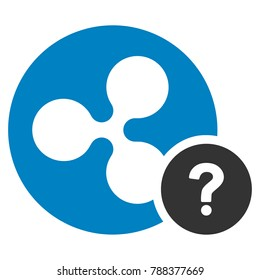 Ripple Coin Unknown Status flat raster icon. An isolated ripple coin unknown status pictogram on a white background.