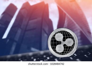 Ripple. coin xrp on background keyboard pc ico