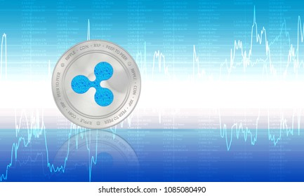 Ripple crypto currency (XRP) closeup. Stack of blue and silver coins. Cyber money.