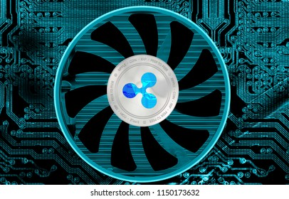 Ripple crypto currency (XRP) closeup.  Silver coin. Cyber money.
