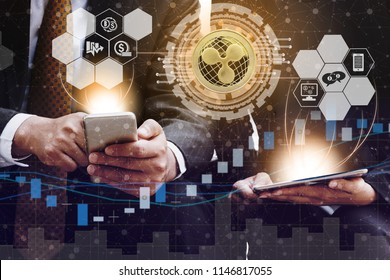 Ripple and cryptocurrency investing concept - Businessman using mobile phone application to trade Ripple XRP with another trader in modern graphic interface. Blockchain and financial technology.