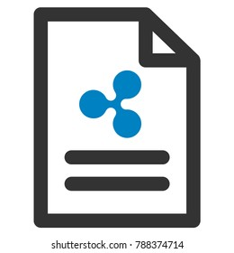 Ripple Invoice flat raster icon. An isolated ripple invoice pictogram on a white background.