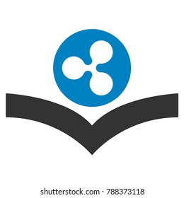 Ripple Knowledge Book flat raster icon. An isolated ripple knowledge book symbol on a white background.