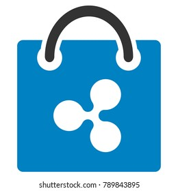 Ripple Shopping Bag flat raster pictograph. An isolated icon on a white background.