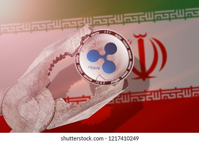 RIPPLE (XRP) coin being squeezed in vice on Iran flag background; concept of ripple cryptocurrency  under pressure. Prohibition of cryptocurrencies, regulations, restrictions or security