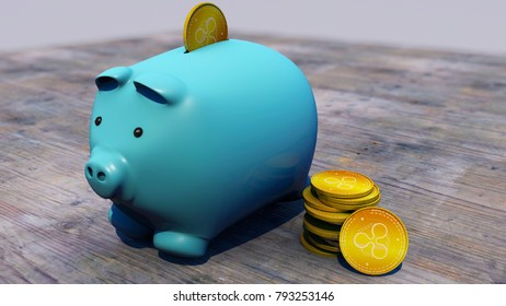 Ripple, xrp, cryptocurrency, e-money, virtual currency, transitions. Piggy bank, piglet, savings. 3d rendering