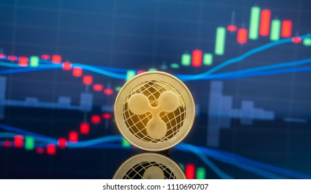 Ripple (XRP) and cryptocurrency investing concept - Physical metal Ripple coins with global trading exchange market price chart in the background.