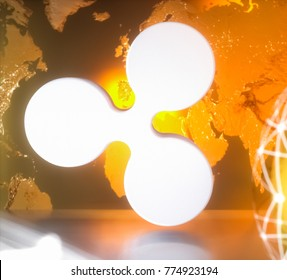 Ripple XRP cryptocurrency technology on dark background