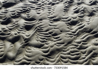 Rippled sand pattern at the beach. Natural backgrounds and textures.