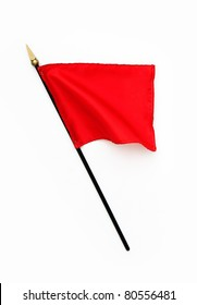 Rippled Silk Red Flag on Pole isolated on white background