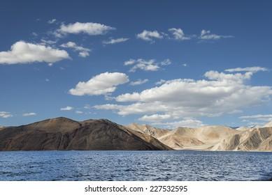 Rippled surface of high mountain Himalayan lake