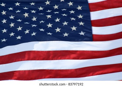 Rippled US Flag Close Up