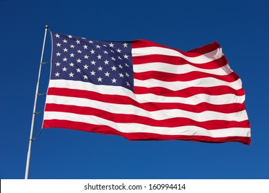 Rippled US Flag on a Windy Day