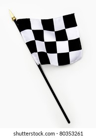 Rippled Wavy Black and White Finish Line Checkered Flag isolated on white background