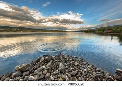 Rippling in the serene  water of lake Mjosa near Lillehammer, Norway