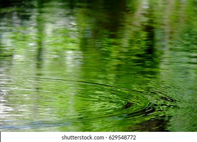 Rippling water colored with fresh green