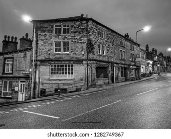 RIPPONDEN, UK - JANUARY 12, 2019: Shops in the centre of Ripponden. Ripponden is a village and civil parish on the River Ryburn near Halifax in West Yorkshire, England.