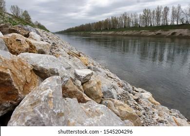 Riprap embankment on the Drava River