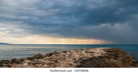Riprap in The Mediterranean Sea - Menton -  France