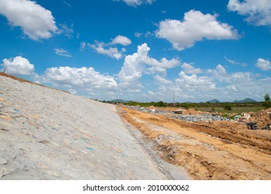 Riprap slope protection in a road construction project. Road slope protection from landslides, and floods.