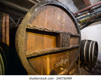 RIQUEWIHR, FRANCE - DECEMBER 12, 2014: The world's oldest wine barrel according to the Guinness book of world records, at Domaine Hugel & Fils in Alsace.