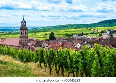 Riquewihr village on sunset, Alsace, France