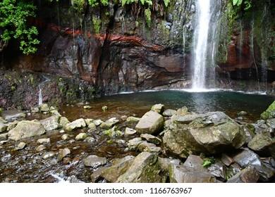 Risco; Madeira; Portugal - february 24 2018 : the 25 fountains levada walk