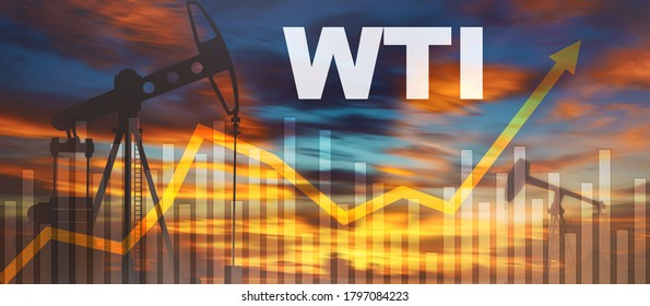 Rise in prices of a barrel of WTI crude oil 2020. Up arrow.