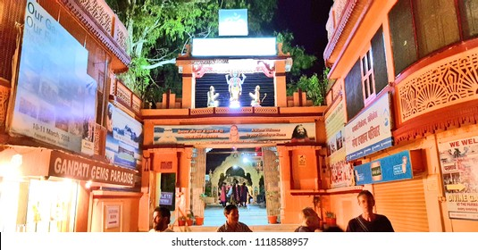 Rishikesh, India - April 02, 2018: Swarg Ashram of Rishikesh, that is one of the main pilgrimages of the Hindu community.