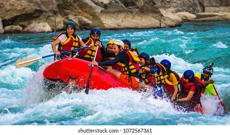 RISHIKESH, INDIA - April 05, 2018: Rafting on the Ganges river in Rishikesh, North India.