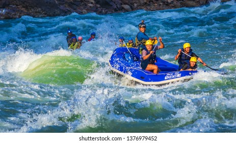 RISHIKESH, INDIA - April, 10, 2019: Rafting on the Ganges river in Rishikesh, North India.