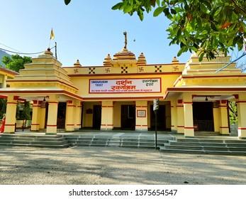 Rishikesh, India - April 12, 2019: Swarg Ashram temple and trust near Ram Jhula, Rishikesh, popular amongst religious devotee.