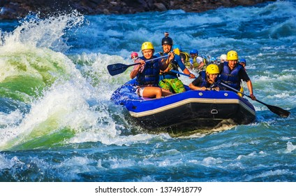 RISHIKESH, INDIA - April, 14, 2019: Rafting on the Ganges river in Rishikesh, North India.