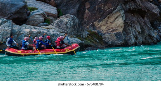 RISHIKESH, INDIA - December 12, 2016: Rafting on the Ganges river in Rishikesh, North India.