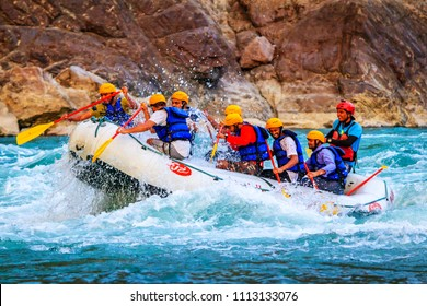 RISHIKESH, INDIA - May 05, 2018: Rafting on the Ganges river in Rishikesh, North India.