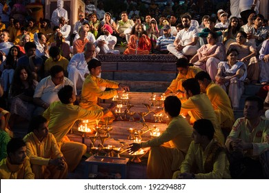RISHIKESH, INDIA - May 11:  Ganga Aarti ceremony at Parmarth Niketan ashram. The Aarti is a pleasant ritual that uses fire as an offering of worshipping the Ganga. May 11, 2014 in Rishikesh, India.