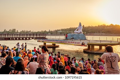 Rishikesh, India - May, 20th, 2018. Ganga Aarti ceremony in Parmarth Niketan ashram at sunset. Rishikesh is World Capital of Yoga, has numerous yoga centres that also attract tourists