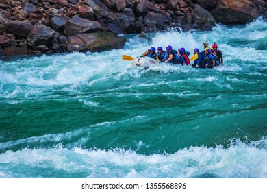 RISHIKESH, INDIA - November 10, 2018: Rafting on the Ganges river in Rishikesh, North India.