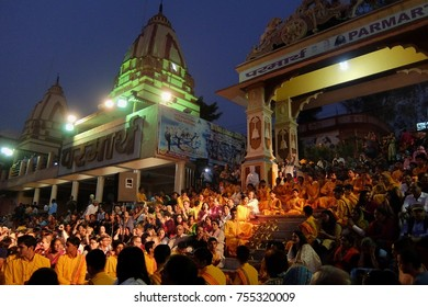 Rishikesh, India - November, 4th, 2017. Ganga Aarti ceremony in Parmarth Niketan ashram at sunset. Rishikesh is World Capital of Yoga, has numerous yoga centres that also attract tourists