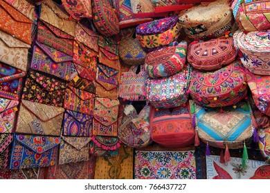 Rishikesh, India - November, 7th, 2017. Bags on the flea market in Rishikesh