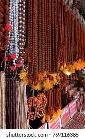Rishikesh, India - November, 9th, 2017. Beads of rudraksh on street market in Rishikesh.